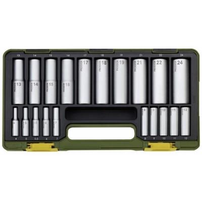 Serie speciale con bussole profonde 20-pezzi da 1/4 e 1/2 Proxxon 23292