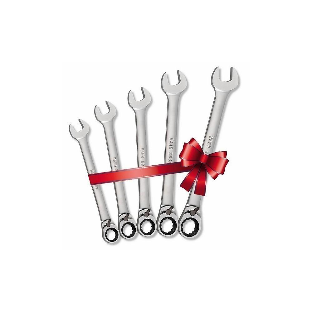 Serie di 5 chiavi combinate a cricchetto reversibile USAG